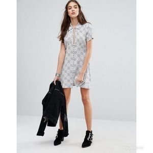 Free People Melody Printed Mini Buttoned Dress
